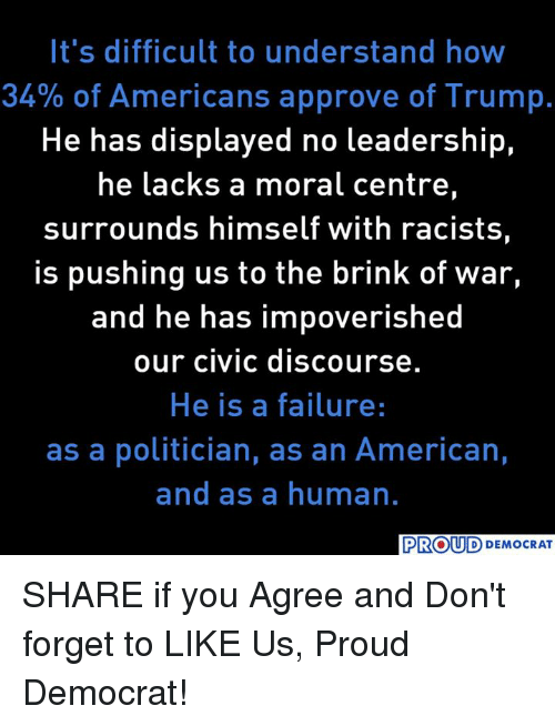 brink: It's difficult to understand how  34% of Americans approve of Trump  He has displayed no leadership,  he lacks a moral centre,  surrounds himself with racists,  is pushing us to the brink of war,  and he has impoverished  our Civic discourse  He is a failure:  as a politician, as an American,  and as a human  PROUD  D DEMOCRAT SHARE if you Agree and Don't forget to LIKE Us, Proud Democrat!