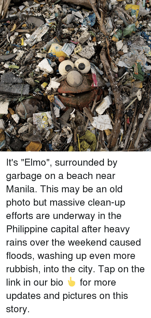 """Floods: It's """"Elmo"""", surrounded by garbage on a beach near Manila. This may be an old photo but massive clean-up efforts are underway in the Philippine capital after heavy rains over the weekend caused floods, washing up even more rubbish, into the city. Tap on the link in our bio 👆 for more updates and pictures on this story."""