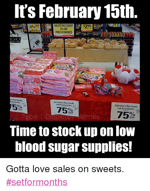 "Candy, Love, and Memes: It's February 15th  VALENTINES CANDY$299  75% OFF  PRICE AS MARKED  sDay Candy  Valentino's Day Candy  and Accessories  Valentine's Day Candy  and Accessories  75  75% ,  Time to stock up on low  blood sugar supplies!  OFF  OFF  OFF  e 1 Diaberes Memes <p>  Gotta love sales on sweets. <a href=""https://twitter.com/search?q=%23setformonths"">#setformonths</a>  <br/></p>"