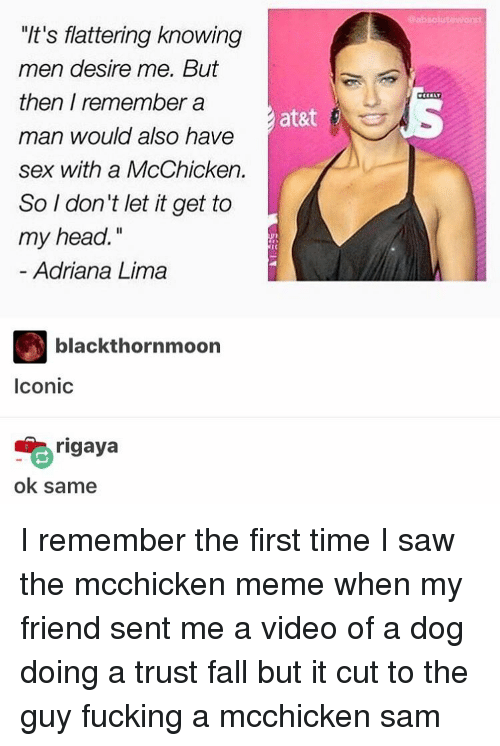 """Memes, 🤖, and Adriana Lima: """"It's flattering knowing  men desire me. But  then I remember a  man would also have  sex with a McChicken.  So I don't let it get to  my head.  Adriana Lima  black thornmoon  Iconic  rigaya  ok same  at&t  @absolut awort I remember the first time I saw the mcchicken meme when my friend sent me a video of a dog doing a trust fall but it cut to the guy fucking a mcchicken ≪sam≫"""
