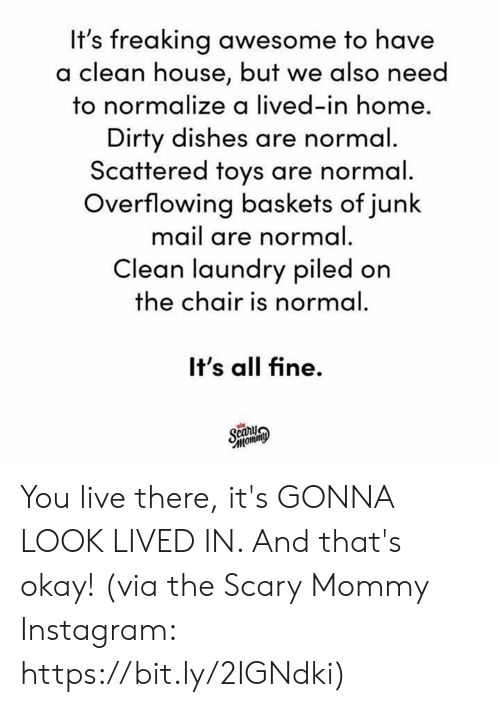In Home: It's freaking awesome to have  lean house, but we also need  to normalize a lived-in home  Dirty dishes are normal  Scattered toys are normal  Overflowing baskets of junk  mail are normal.  Clean laundry piled on  the chair is normal  It's all fine.  car You live there, it's GONNA LOOK LIVED IN. And that's okay!  (via the Scary Mommy Instagram: https://bit.ly/2IGNdki)
