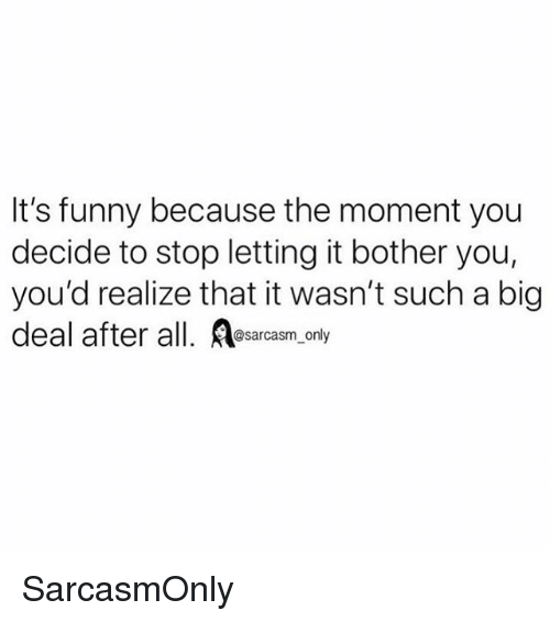 Its Funny Because: It's funny because the moment you  decide to stop letting it bother you,  you'd realize that it wasn't such a big  @sarcasm only SarcasmOnly