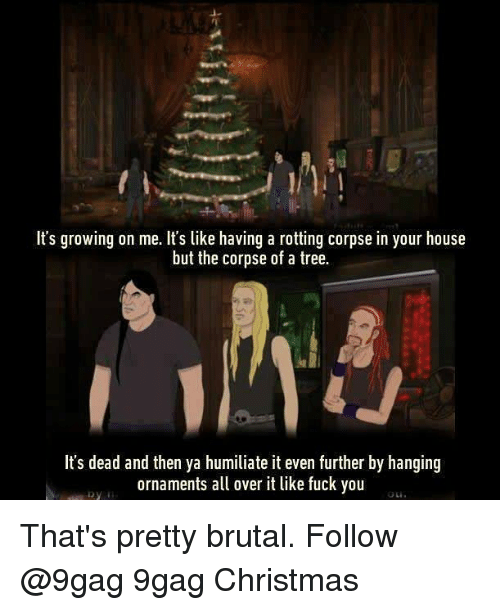 humiliate: It's growing on me. It's like having a rotting corpse in your house  but the corpse of a tree.  It's dead and then ya humiliate it even further by hanging  ornaments a over it like fuck you That's pretty brutal. Follow @9gag 9gag Christmas