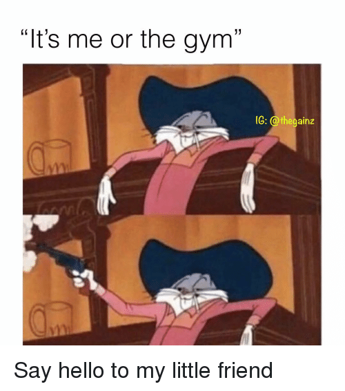 """Gym, Hello, and Memes: """"It's me or the gym""""  G: @thegainz Say hello to my little friend"""