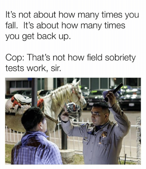 Dank, Fall, and How Many Times: It's not about how many times you  fall. It's about how many times  you get back up.  Cop: That's not how field sobriety  tests work, sir.