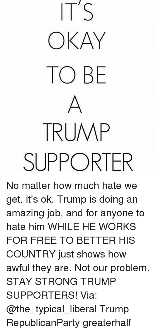 Memes, Free, and Okay: ITS  OKAY  TO BE  TRUMP  SUPPORTER No matter how much hate we get, it's ok. Trump is doing an amazing job, and for anyone to hate him WHILE HE WORKS FOR FREE TO BETTER HIS COUNTRY just shows how awful they are. Not our problem. STAY STRONG TRUMP SUPPORTERS! Via: @the_typical_liberal Trump RepublicanParty greaterhalf