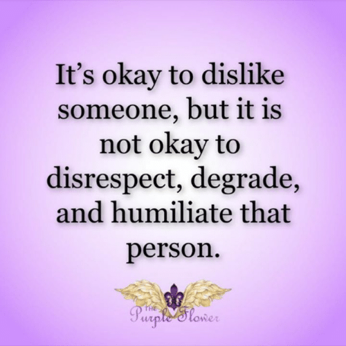 dislike: It's okay to dislike  someone, but it is  not okay to  disrespect, degrade,  and humiliate that  person  THE  Purple'tower
