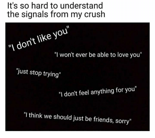 "Understandably: It's so hard to understand  the signals from my crush  ""I don't like you""  ""I won't ever be able to love you""  ""just stop trying  ""I don't feel anything for you""  ""I think we should just be friends, sorry"""