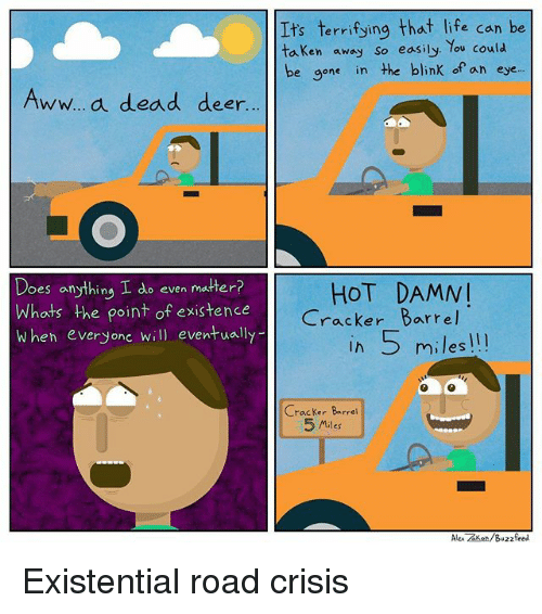 Awwe: Its terrifying that life can be  taken away so easily. You could  be gone in he blink ofan eye.  Aww..a dead deer  Does anything I do even matter?  Whats the point of existence  When everyonc will eventually  HOT DAMN  Cracker Barrel  Ih 5 miles!!!  Cracker Barrei  5 Miles  Alex zker/Buzzfeed Existential road crisis