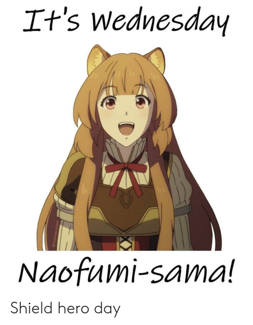 Anime, Wednesday, and Hero: It's wednesday  Naofumi-sama! Shield hero day