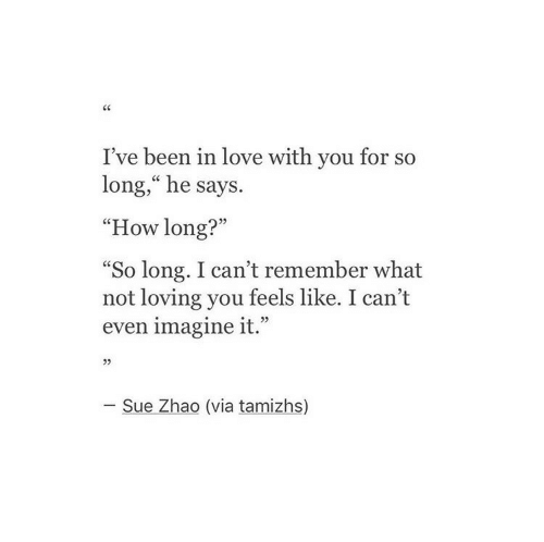"""imagine it: I've been in love with you for so  long,"""" he says.  """"How long?""""  So long. I can't remember what  not loving you feels like. I can't  even imagine it.""""  L 2>  05  - Sue Zhao (via tamizhs)"""