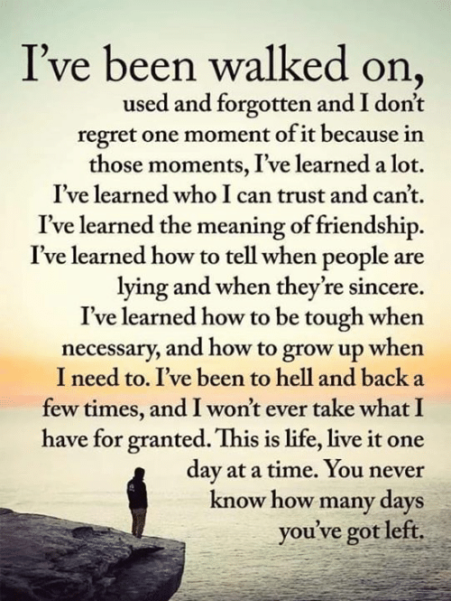 Life, Memes, and Regret: I've been walked on  used and forgotten and I don't  regret one moment of it because in  those moments, I've learned a lot.  I've learned who I can trust and can't.  I've learned the meaning of friendship.  I've learned how to tell when people are  lying and when they're sincere  I've learned how to be tough when  necessary, and how to grow up when  I need to. I've been to hell and back a  few times, and I won't ever take what I  have for granted. This is life, live it one  day at a time. You never  know how many days  you've got left.