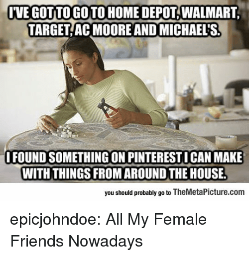 Michaels: IVE GOT TO GO TO HOME DEPOT, WALMART  TARGET AC MOORE AND MICHAEL'S  FOUND SOMETHING ON PINTERESTI CAN MAKE  WITH THINGS FROM AROUND THE HOUSE.  you should probably go to TheMetaPicture.com epicjohndoe:  All My Female Friends Nowadays