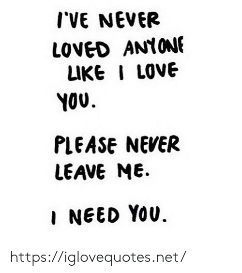 Never Loved: IVE NEVER  LOVED ANYONE  LIKE I LOVE  YOU  PLEASE NEVER  LEAVE ME  INEED YOU. https://iglovequotes.net/
