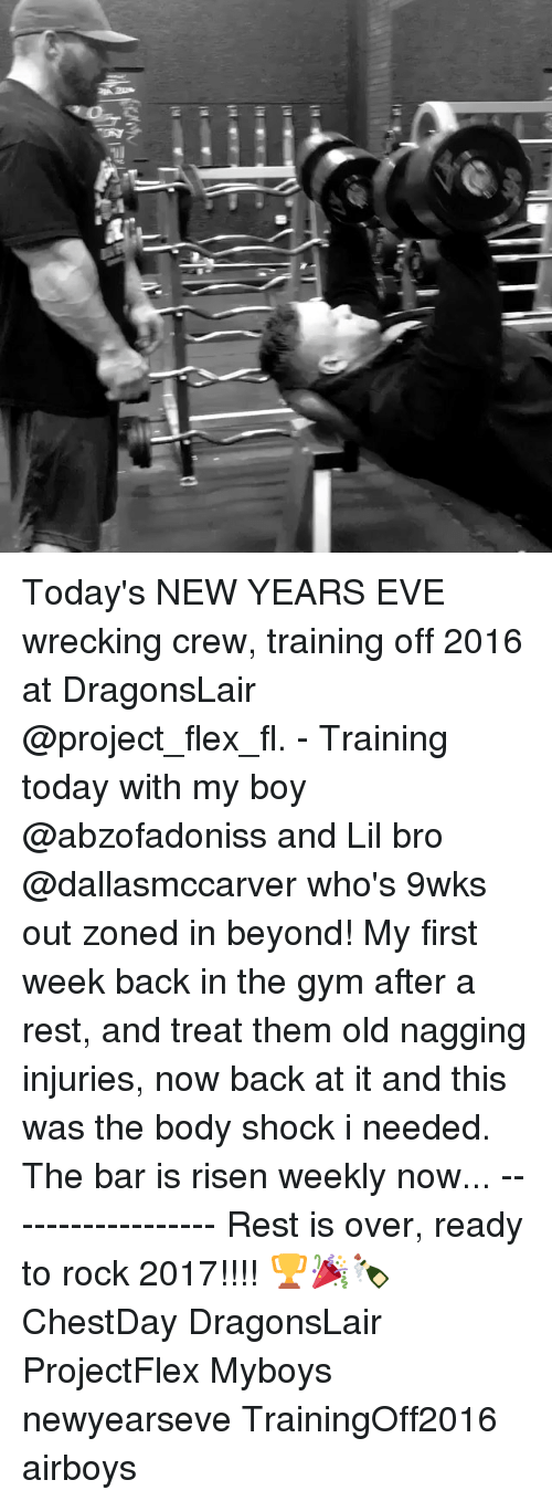 Newyearseve: Iya Today's NEW YEARS EVE wrecking crew, training off 2016 at DragonsLair @project_flex_fl. - Training today with my boy @abzofadoniss and Lil bro @dallasmccarver who's 9wks out zoned in beyond! My first week back in the gym after a rest, and treat them old nagging injuries, now back at it and this was the body shock i needed. The bar is risen weekly now... ------------------ Rest is over, ready to rock 2017!!!! 🏆🎉🍾 ChestDay DragonsLair ProjectFlex Myboys newyearseve TrainingOff2016 airboys