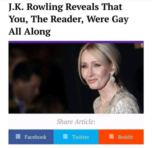Facebook, Reddit, and Twitter: J. K Rowling Reveals That  You, The Reader, Were Gay  All Along  Share Article:  Facebook  Twitter  Reddit