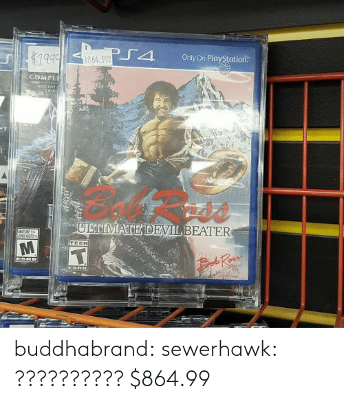 PlayStation, Tumblr, and Devil: J4  Only On PlayStation  864.99  COMPL  MATE DEVIL, BEATER  TEEN buddhabrand:  sewerhawk:  ??????????  $864.99