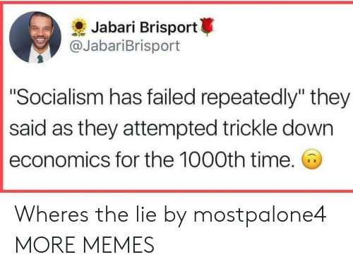 "Dank, Memes, and Target: Jabari Brisport  @JabariBrisport  ""Socialism has failed repeatedly"" they  said as they attempted trickle down  economics for the 1000th time. Wheres the lie by mostpalone4 MORE MEMES"