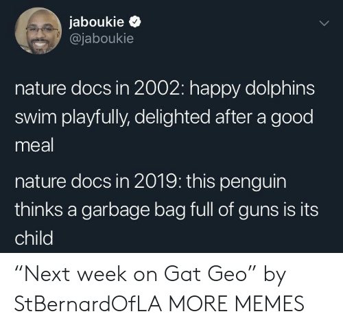 """delighted: jaboukie >  @jaboukie  nature docs in 2002: happy dolphins  swim playfully, delighted after a good  meal  nature docs in 2019: this penguin  thinks a garbage bag full of guns is its  child """"Next week on Gat Geo"""" by StBernardOfLA MORE MEMES"""