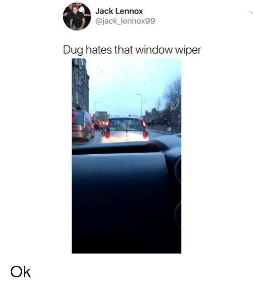 Memes, 🤖, and Jack: Jack Lennox  @jack_lennox99  Dug hates that window wiper Ok