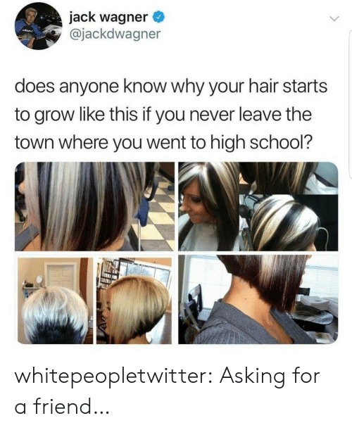School, Tumblr, and Blog: jack wagner  @jackdwagner  does anyone know why your hair starts  to grow like this if you never leave the  town where you went to high school? whitepeopletwitter:  Asking for a friend…