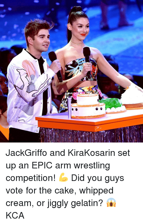 gelatin: JackGriffo and KiraKosarin set up an EPIC arm wrestling competition! 💪 Did you guys vote for the cake, whipped cream, or jiggly gelatin? 😱 KCA
