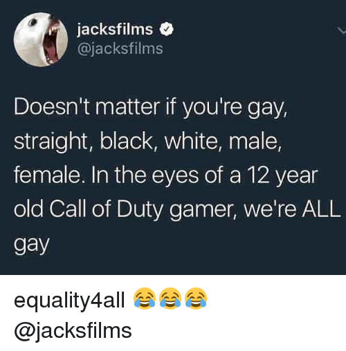 Memes, Black, and Call of Duty: jacksfilms  @jacksfilms  Doesn't matter if you're gay,  straight, black, white, male,  female. In the eyes of a 12 year  old Call of Duty gamer, we're ALL  gay equality4all 😂😂😂 @jacksfilms