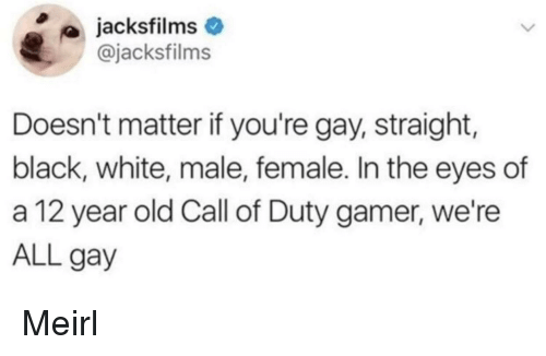 Black, Call of Duty, and White: jacksfilms  @jacksfilms  Doesn't matter if you're gay, straight,  black, white, male, female. In the eyes of  a 12 year old Call of Duty gamer, we're  ALL gay Meirl