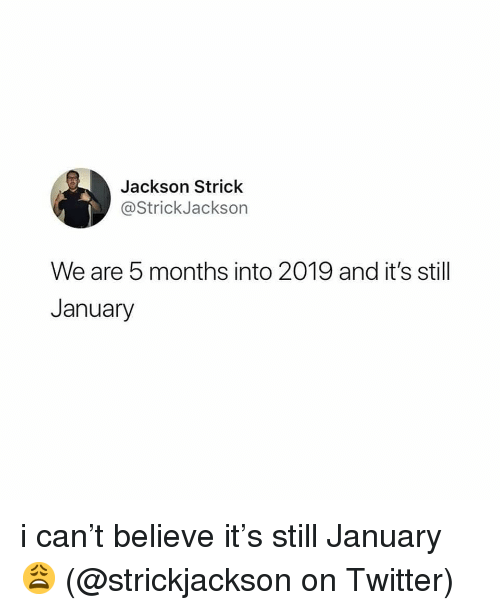 Memes, Twitter, and 🤖: Jackson Strick  @StrickJackson  We are 5 months into 2019 and it's still  January i can't believe it's still January 😩 (@strickjackson on Twitter)