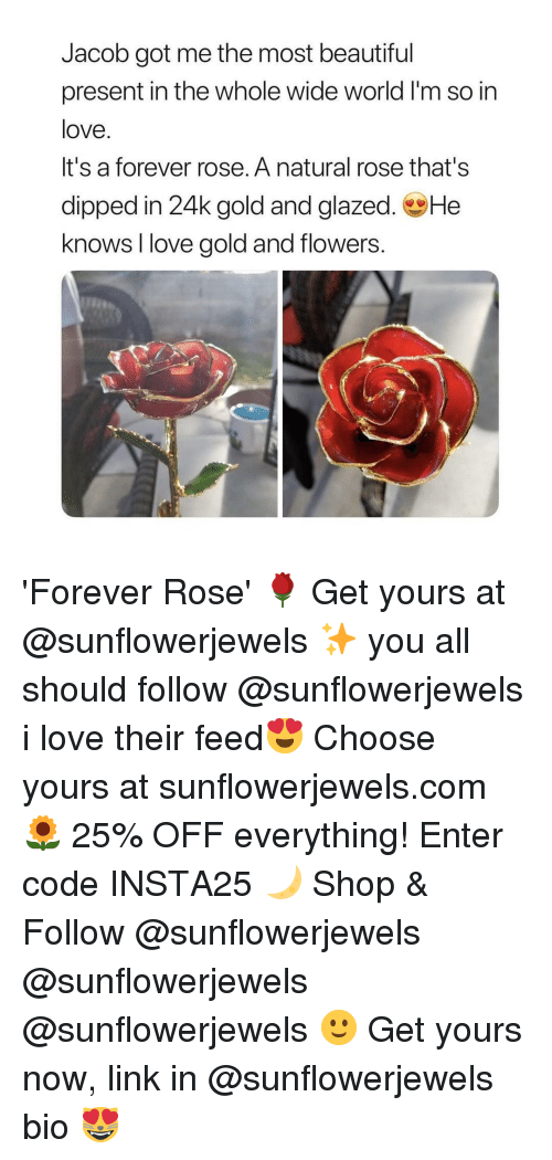 24K: Jacob got me the most beautiful  present in the whole wide world I'm so in  love.  It's a forever rose. A natural rose that's  dipped in 24k gold and glazed. He  knows I love gold and flowers 'Forever Rose' 🌹 Get yours at @sunflowerjewels ✨ you all should follow @sunflowerjewels i love their feed😍 Choose yours at sunflowerjewels.com 🌻 25% OFF everything! Enter code INSTA25 🌙 Shop & Follow @sunflowerjewels @sunflowerjewels @sunflowerjewels 🙂 Get yours now, link in @sunflowerjewels bio 😻