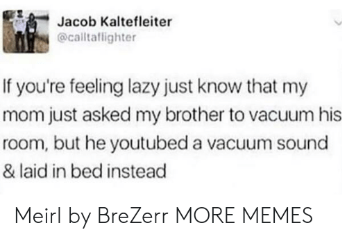 youtubed: Jacob Kaltefleiter  @caltaflighter  If you're feeling lazy just know that my  mom just asked my brother to vacuum his  room, but he youtubed a vacuum sound  & laid in bed instead Meirl by BreZerr MORE MEMES