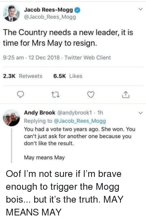 Another One, Memes, and Twitter: Jacob Rees-Mogg  @Jacob_Rees Mogg  The Country needs a new leader, it is  time for Mrs May to resign.  9:25 am 12 Dec 2018 Twitter Web Client  2.3K Retweets6.5K Likes  Andy Brook @andybrook1 1h  Replying to @Jacob Rees Mogg  You had a vote two years ago. She won. You  can't just ask for another one because you  don't like the result.  May means May Oof I'm not sure if I'm brave enough to trigger the Mogg bois... but it's the truth. MAY MEANS MAY