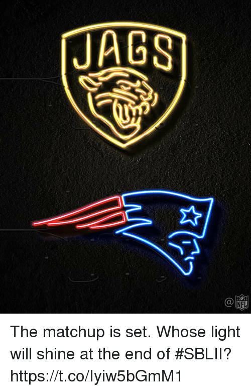 Memes, Nfl, and 🤖: JAGS  Ca  NFL The matchup is set.   Whose light will shine at the end of #SBLII? https://t.co/Iyiw5bGmM1