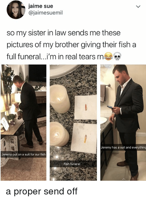 kemp: jaime sue  @jaimesuemil  so my sister in law sends me these  pictures of my brother giving their fish a  full funeral i'm in real tears rnea  e kemp  Jeremy has a suit and everything  Jeremy put on a suit for our fish  Fish funeral a proper send off