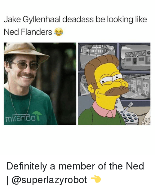 Ned Flanders: Jake Gyllenhaal deadass be looking like  Ned Flanders  HET  MOES  mirand0 Definitely a member of the Ned | @superlazyrobot 👈