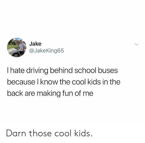 The Cool Kids: Jake  @JakeKing65  I hate driving behind school buses  because l know the cool kids in the  back are making fun of me Darn those cool kids.