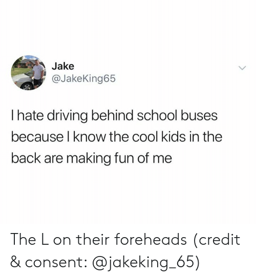 The Cool Kids: Jake  @JakeKing65  I hate driving behind school buses  because l know the cool kids in the  back are making fun of me The L on their foreheads (credit & consent: @jakeking_65)