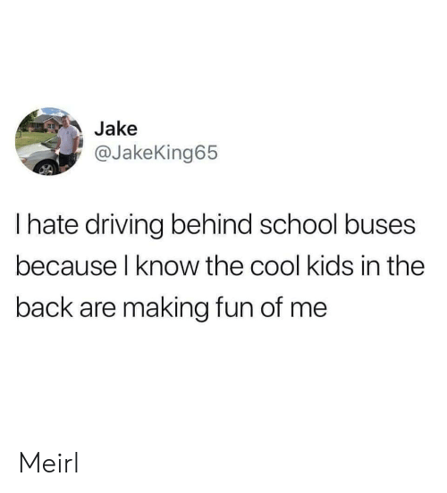 cool kids: Jake  @JakeKing65  I hate driving behind school buses  because l know the cool kids in the  back are making fun of me Meirl