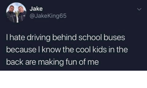 The Cool Kids: Jake  @JakeKing65  I hate driving behind school buses  because l know the cool kids in the  back are making fun of me