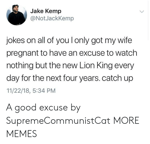 kemp: Jake Kemp  @NotJackKemp  jokes on all of you l only got my wife  pregnant to have an excuse to watch  nothing but the new Lion King every  day for the next four years. catch up  11/22/18, :34 PM A good excuse by SupremeCommunistCat MORE MEMES