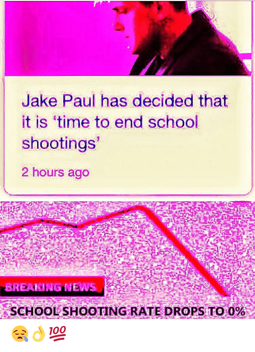 school shooting: Jake Paul has decided that  it is 'time to end school  shootings  2 hours ago  BREAKING EWS  SCHOOL SHOOTING RATE DROPS TO 0%  - 😪👌💯