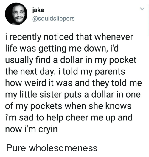 Life, Parents, and She Knows: jake  @squidslippers  i recently noticed that whenever  life was getting me down, i'd  usually find a dollar in my pocket  the next day. i told my parents  how weird it was and they told me  my little sister puts a dollar in one  of my pockets when she knows  i'm sad to help cheer me up and  now im crvin Pure wholesomeness