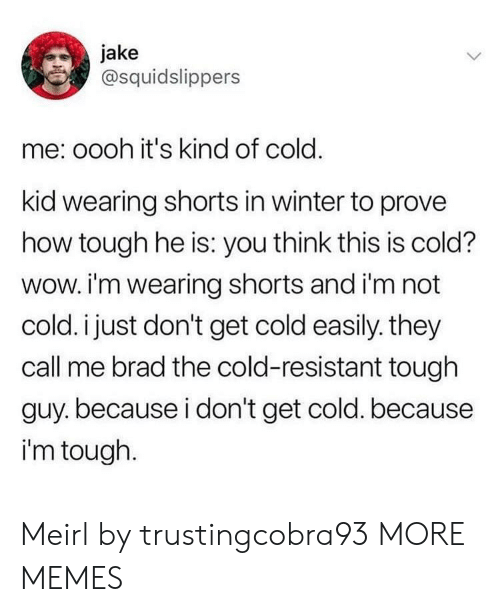 Dank, Memes, and Target: jake  @squidslippers  me: oooh it's kind of cold.  kid wearing shorts in winter to prove  how tough he is: you think this is cold?  wow. i'm wearing shorts and i'm not  cold. i just don't get cold easily. they  call me brad the cold-resistant tough  guy.because i don't get cold. because  i'm tough. Meirl by trustingcobra93 MORE MEMES