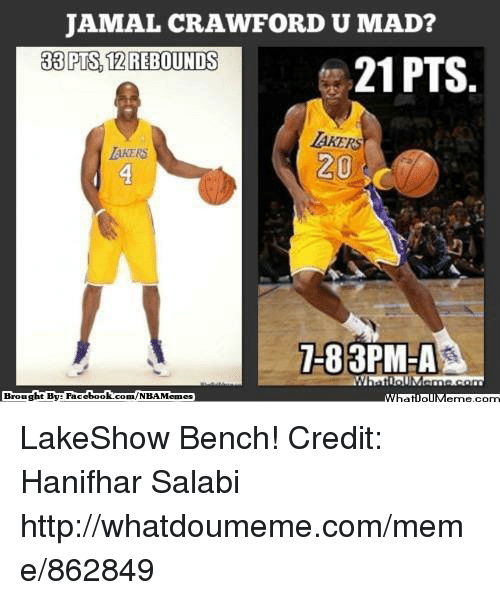 Fac, Los Angeles Lakers, and Meme: JAMAL CRAWFORD U MAD?  38 PTS, 12 REBOUNDS  21 PTS  LAKERS  20  3PM-A  Brought By Fac  ebook com/NBA Memes LakeShow Bench! Credit: Hanifhar Salabi  http://whatdoumeme.com/meme/862849