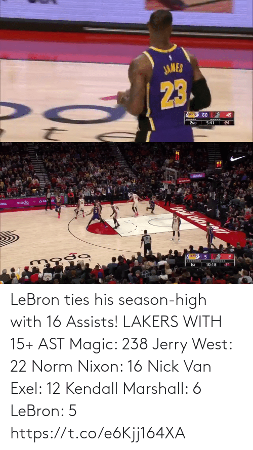 Akers: JAMES  23.  Z 60  49  2ND  5:41  :24   moda  ASlatelam  A DE  moda  TAL  AKERS  ---- ----  1ST  10:18  :21 LeBron ties his season-high with 16 Assists!   LAKERS WITH 15+ AST Magic: 238 Jerry West: 22 Norm Nixon: 16 Nick Van Exel: 12 Kendall Marshall: 6 LeBron: 5   https://t.co/e6Kjj164XA