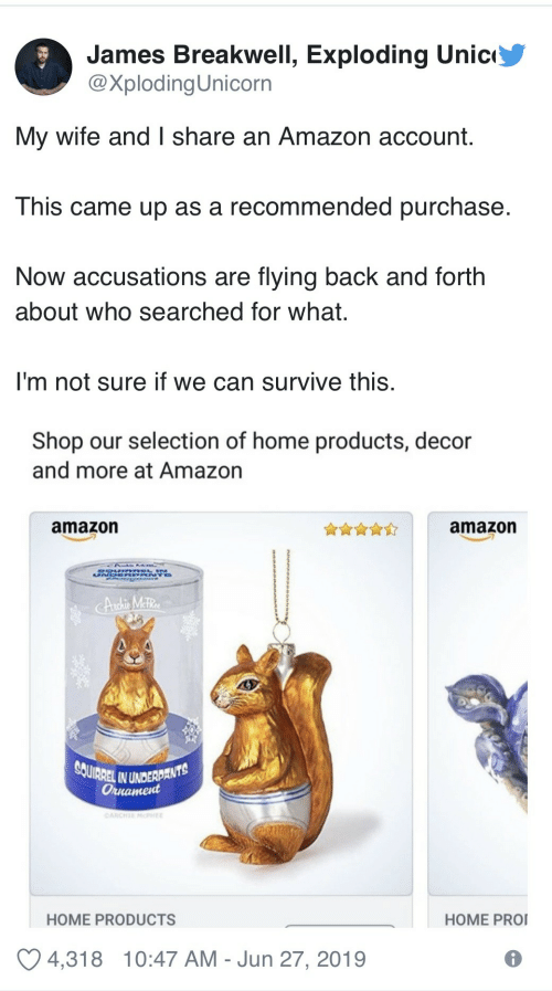 Selection: James Breakwell, Exploding Unic  @XplodingUnicorn  My wife and I share an Amazon account.  This came up as a recommended purchase  Now accusations are flying back and forth  about who searched for what.  I'm not sure if we can survive this.  Shop our selection of home products, decor  and more at Amazon  amazon  amazon  UN  Andhis MetRe  SQUIRREL IN UNDERDANTS  Оннатеd  OARCHE MPHEE  HOME PRO  HOME PRODUCTS  4,318  10:47 AM Jun 27, 2019
