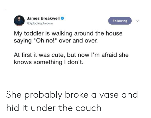 "Cute, She Knows, and Couch: James Breakwell  Following  @XplodingUnicorn  My toddler is walking around the house  saying ""Oh no!"" over and over.  At first it was cute, but now I'm afraid she  knows something I don't. She probably broke a vase and hid it under the couch"