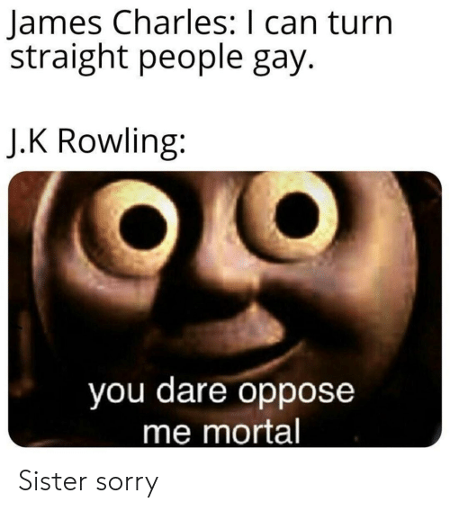 Oppose: James Charles: I can turn  straight people gay.  J.K Rowling:  you dare oppose  me mortal Sister sorry