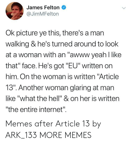 "that face: James Felton  @JimMFelton  Ok picture ye this, there's a mar  walking & he's turned around to look  at a woman with an ""awww yeah l like  that"" face. He's got ""EU"" written on  him. On the woman is written ""Article  13"". Another woman glaring at man  like ""what the hell"" & on her is written  ""the entire internet"". Memes after Article 13 by ARK_133 MORE MEMES"