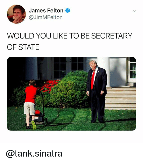 Dank Memes, Tank, and Secretary of State: James Felton  @JimMFelton  WOULD YOU LIKE TO BE SECRETARY  OF STATE @tank.sinatra